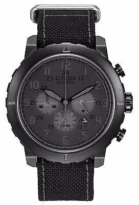 Citizen Eco-Drive Men's CA4098-06E Chronograph Grey Case Black Nylon Strap Watch