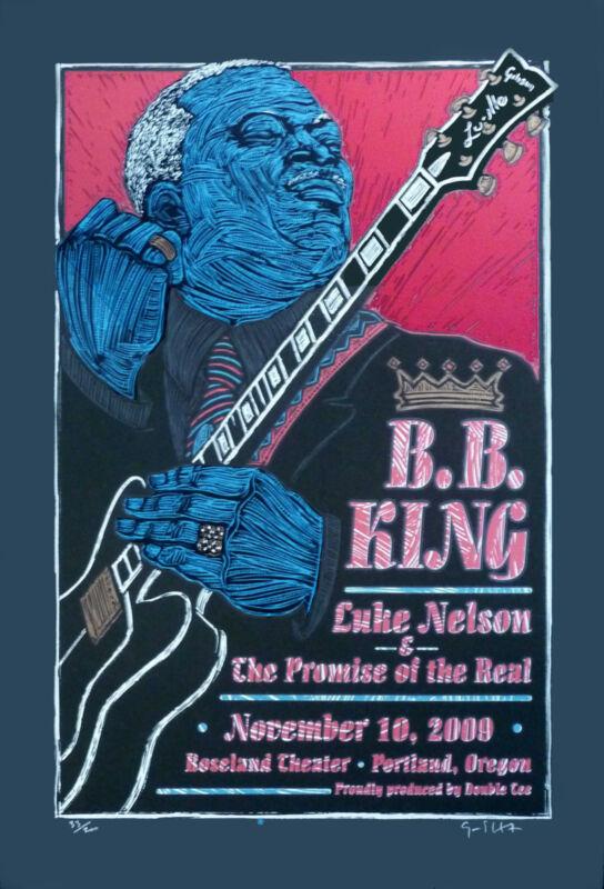 BB King Poster Luke Nelson Original S/N 200 Hand-Signed by Gary Houston COA