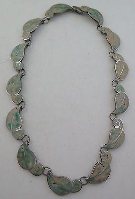 Vintage Sterling Silver Enamel Inlay Ornate Leaf Themed Necklace