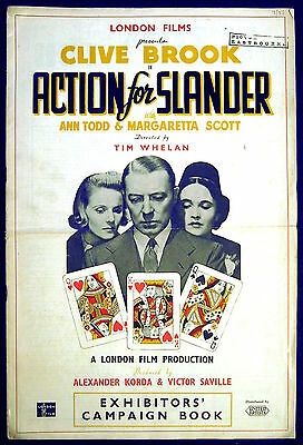 ACTION FOR SLANDER 1937 Clive Brook, Ann Todd, Margaretta Scott UK PRESSBOOK