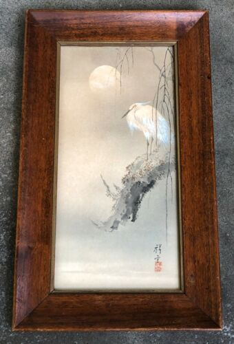 """ANTIQUE JAPANESE WATERCOLOR """"EGRET AT THE TREE BRANCH"""" ON PAPER. 1900s"""