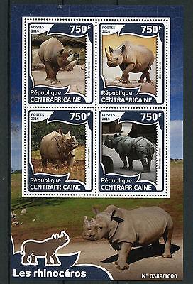 Central African Republic 2016 MNH Rhinoceros 4v M/S Black Indian Rhinos