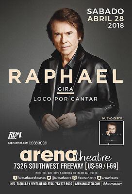 "RAPHAEL ""GIRA LOCO POR CANTAR"" 2018 HOUSTON CONCERT TOUR POSTER - Ambient Music"