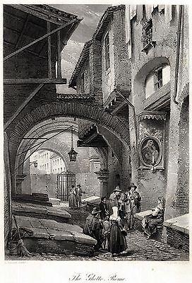 ROMA: Zampognari,Zampogna,Ciaramella,Madonna.Costumi. ACCIAIO.Stampa Antica.1878
