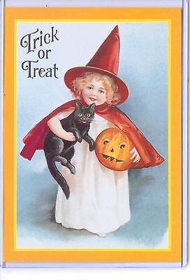 VINTAGE REPRODUCTION TRICK OR TREAT GIRL WITCH BLACK CAT PUMPKIN REPRO POSTCARD  (Reproduction Vintage Halloween Postcards)
