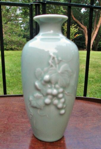 Vintage Chinese Celadon Green Vase with Embossed Grapes Cluster & Vine marked