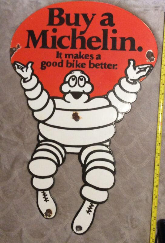 "HUGE 24"" X 15 1/2 "" VINTAGE MICHELIN TIRES DIECUT BIBENDUM MAN PORCELAIN SIGN"