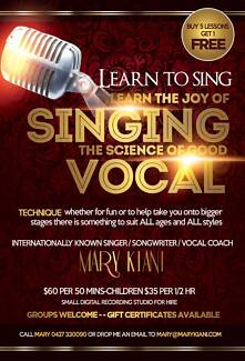Mary Kiani Internationally known singer performer & Vocal coach Sydney Region Preview