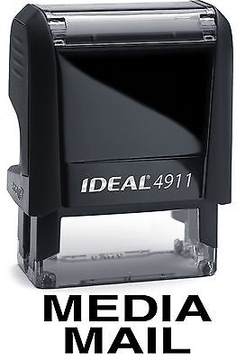 Media Mail Stamp Text On Ideal 4911 Self-inking Rubber Stamp With Black Ink