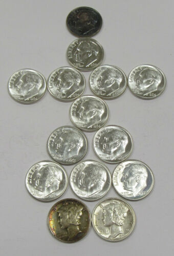 1940-1964 Collector Lot of 14 High Grade Mercury & Roosevelt Dimes