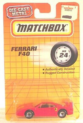Matchbox Vintage 1993 #24 Ferrari F40 Red with Logo on hood & fender