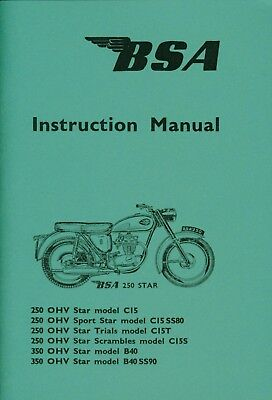 BSA Instruction Manual C15 B40 Sports Star Trial Scrambles 1964-65 Side Points