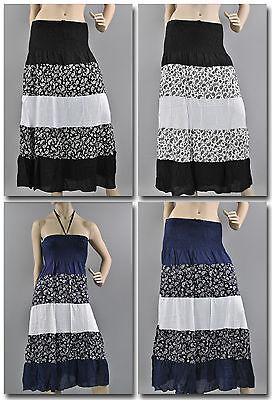 Langer Rock Stufenrock Maxirock Strandrock Strandkleid Kleid Baumwolle rok511 Kleid Kleid Rock