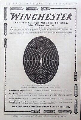 1905 AD(K19)~WINCHESTER .22 CALIBER CARTRIDGES ZIMMERMAN PRICE WINNING TARGET