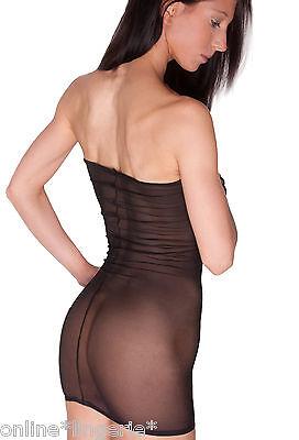 Black Net Mini Dress Sexy See Through MESH Sheer Fishnet Boob Tube Lingerie D20 - Net Tube Dress