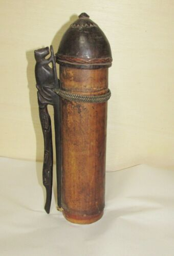 Old or Antique Tribal African or Oceanic Bamboo Vessel with Wood Carving