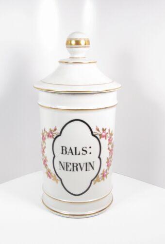 Antique Bals Nervin Porcelain Large Apothecary Lidded Jar Circa 1900