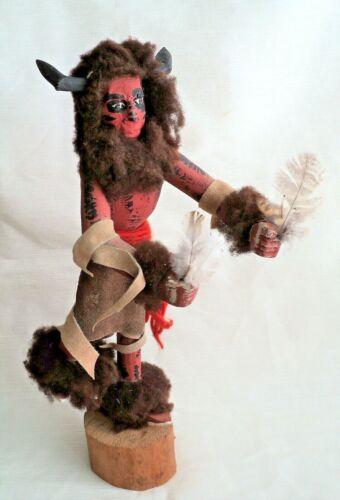 "Vtg BROWN BUFFALO Large 15"" Tall KACHINA KATSINA Dancer Doll Comanche - Signed"