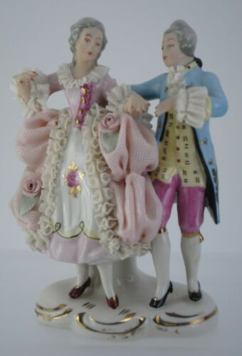 Vintage Dresden Lace Figurine Of A Man And Woman Dancing