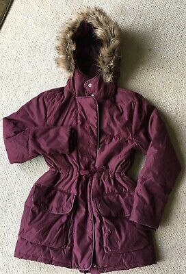 Abercrombie & Fitch Womens Hooded Coat Puffer Burgundy, Size S (Small)