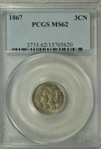 1867 3 cent nickel, PCGS MS62
