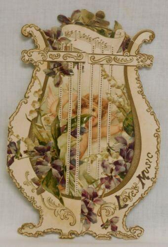 Vintage Tuck & Sons Fold Out Die Cut Valentine Card Cherub Bow/Arrow c. 1900