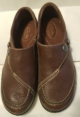 Clarks Bendables Ashland Pebbled Brown Leather Slip On Shoes 63067 Women's 8 M