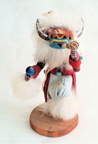 Vtg MEDICINE MAN Signed KACHINA KATSINA Dancer Doll w/ Fur Feathers Horns Rattle