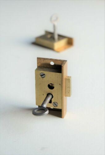 "SECURE 2 LEVER Brass Cut Cupboard Cabinet Door LOCK 2"" x 1"""
