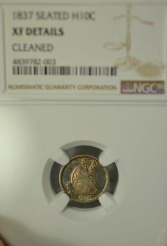 1837 Seated Liberty half dime, No Stars, NGC XF