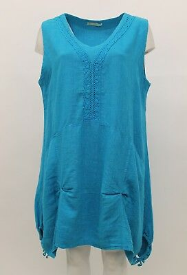 LA BASS WOMEN'S SPRING SUMMER LINEN SLEEVELESS TANK TUNIC TROPICAL PLUS SIZE 2 for sale  Los Angeles