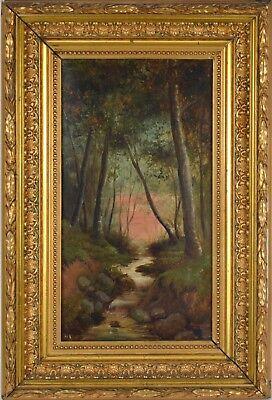 Peinture à l'huile paysage Cascade Forêt 34x18 HST signé Beli