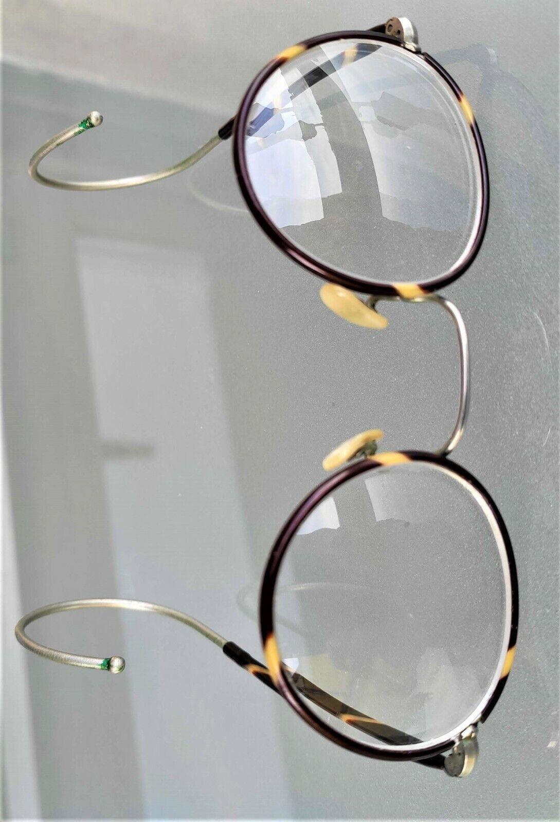 Alt Windsor Nickel Brille 2030er Panto Form Horn Optik Gespinstbügel TOPZUSTAND