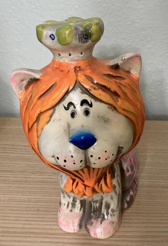 Vintage 1966 Hand Painted Orange Mane LION Bank JAPAN Orient Services Ltd.