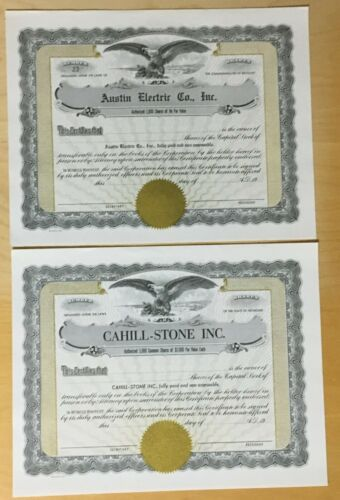 2 VINTAGE STOCK CERTIFICATES, BOTH UNISSUED  #O