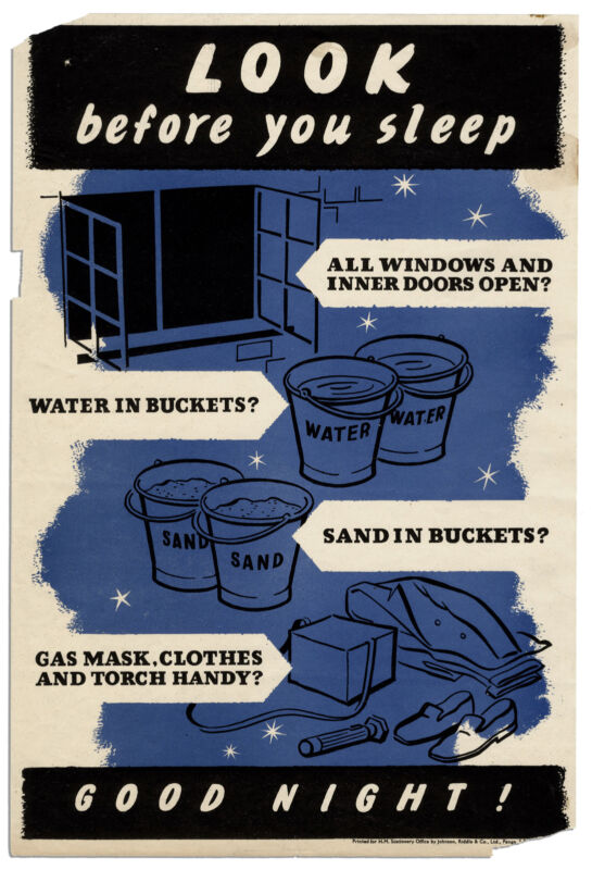Mask, Clothes, And Torch Handy British WWII Poster