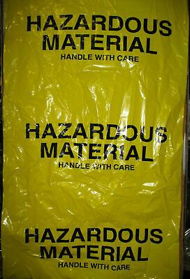 (3) HAZARDOUS MATERIAL BIO YELLOW BAGS NIB X-LG 38X65 HEAVY DUTY 6 MIL