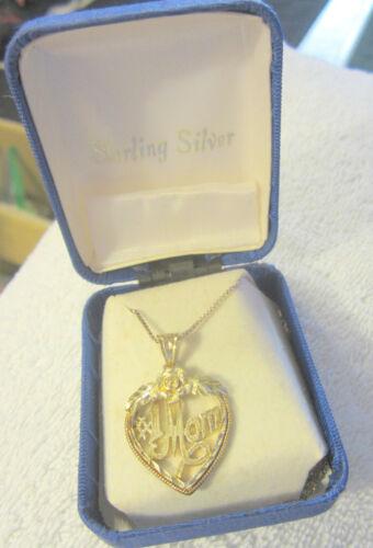 "Vintage sterling Silver Heart Necklace #1 Mom"" 20"" w original box,NOS,tarnished"