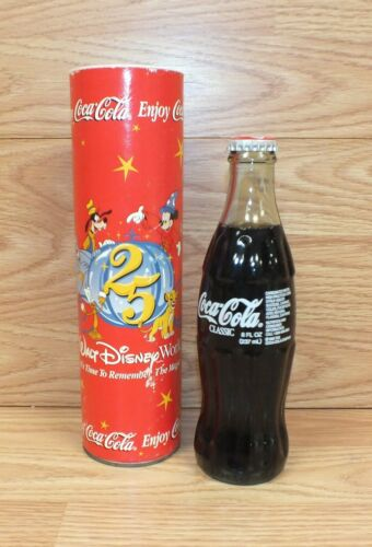 Genuine Disney 25 Year Anniversary Collectible Full Coca-Cola Bottle in Tube