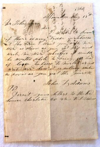 1864 Letter with Turned Cover Mailed from Lynchburg to Appomattox Va  2 stamps
