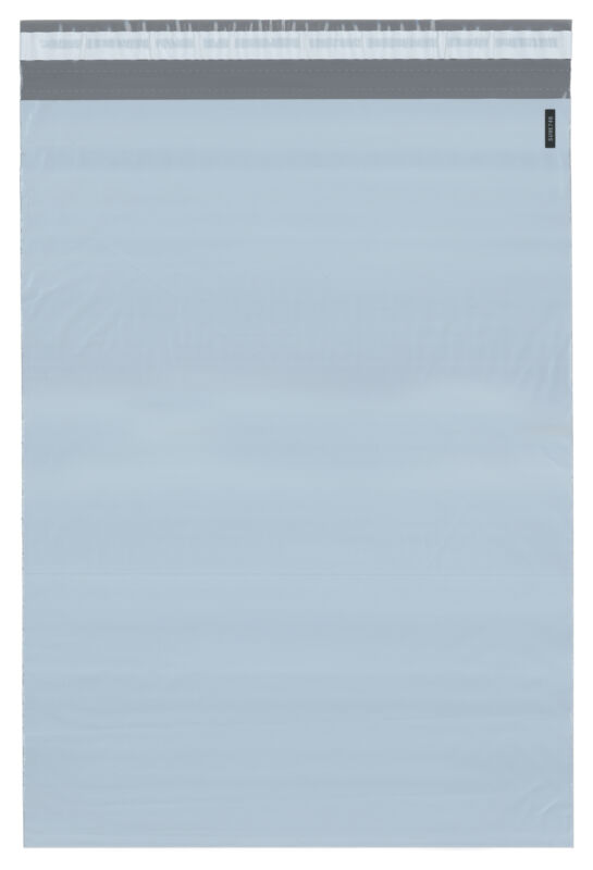"Plymor Poly Mailer White/Gray Bag w/ Closure & Strip, 14.5"" x 19"" (Case of 500)"