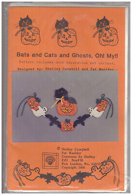 Bats and Cats and Ghosts, Oh! My!! SEWING PATTERN door decor/garland HALLOWEEN