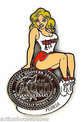 HOOTERS RESTAURANT 20th ANNIVERSARY GIRL PEORIA LAPEL BADGE PIN