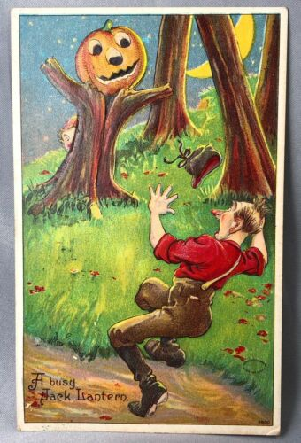1909 Jack O Lantern HALLOWEEN JOL Ichabod Embossed Postcard ANTIQUE Julius BIEN