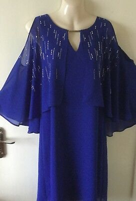New Ladies Mother of the Bride Dress UK12  Cruise/Party Royal Blue Cold (Mother Of The Bride Cold Shoulder Dress)