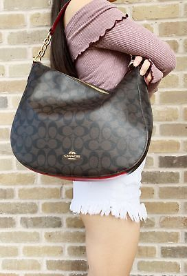 Coach F39527 Elle Hobo Top Zop Shoulder Bag Brown Signature Red