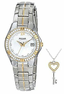 NEW Pulsar PH7244 Womens Key Necklace & Swarovski MOP 2Tone Steel Date Watch Set