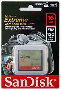 SANDISK Extreme 16GB CF Compact Flash Memory Card 16G 120MB/s UDMA 7 800x