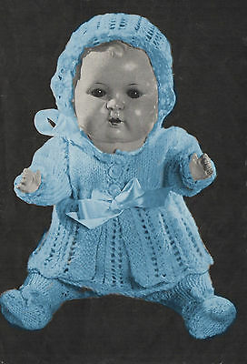 """KNITTING PATTERN TO MAKE 15"""" VINTAGE BABY DOLLS CLOTHES LAYETTE"""