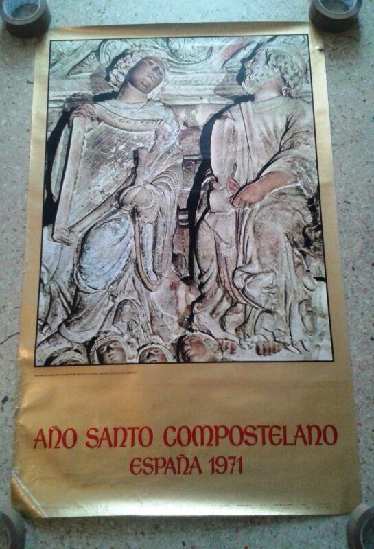 Vintage travel poster Spain Jacobean Holy Year apocalypse Compostela 1971